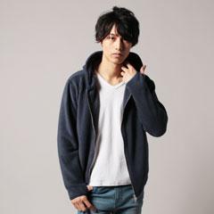 日本製アンチピリングフリースハンドウォーマーポケ付フードジャケット