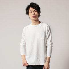日本製吊り編み天竺ヘムラウンド胸ポケ付きクルーネック長袖Tee