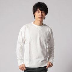 日本製吊り編み天竺Vガゼットクルーネック長袖Tee