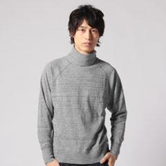 日本製吊り編み天竺ラグランタートルネック長袖Tee