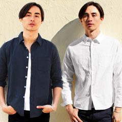 綿麻ストレッチ半袖/7分袖/長袖シャツ
