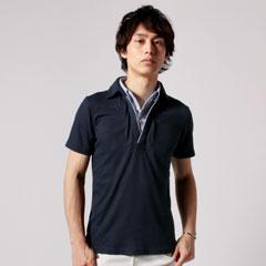 テレコ地半袖二枚襟ポロシャツ