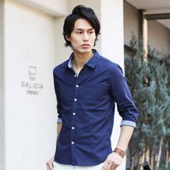 フレンチリネン綿麻ストレッチ/先染めパターン7分袖・半袖シャツ