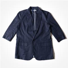 SPU/綿麻ストレッチ素材テーラード7分袖 ジャケット