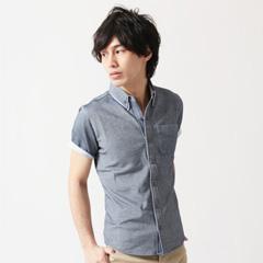 SPU/2枚襟デザイン オックス鹿の子 半袖/長袖シャツ
