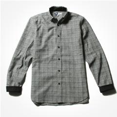 SPU/グレンチェックパターンワイドスプレッド長袖シャツ