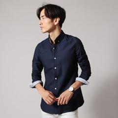SPU/ミクロヘリンボーンボタンダウンストレッチシャツ