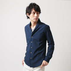 SPU/綿麻ストレッチパナマ織イタリアンカラー長袖シャツ
