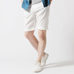 SPU/綿麻ストレッチショートパンツ