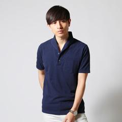 SPU/鹿の子イタリアンカラー半袖ポロシャツ
