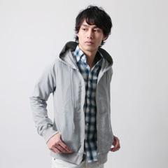 SPU/裏毛 カラー デニム ジップ パーカー
