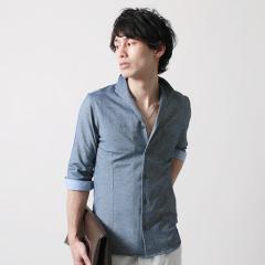 SPU/イタリアンカラー オックス 鹿の子 7分袖 シャツ