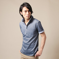 SPU/オックス鹿の子スタンド襟半袖ポロシャツ