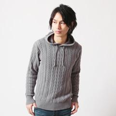 SPU/コットン100%ケーブル編みプルパーカー