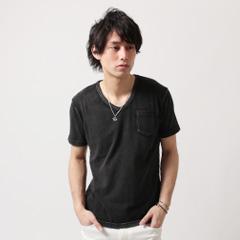 SPU/ポケット付きインディゴ天竺半袖カットソー