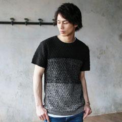 SPU/異素材ニット切替半袖カットソー