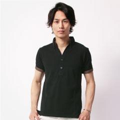 鹿の子スキッパー半袖ポロシャツ