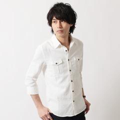SPU/コットンパナマ織ミリタリーデザイン7分袖シャツ