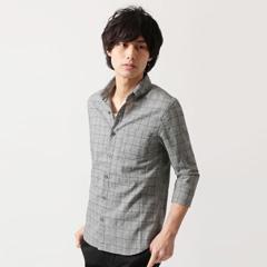 SPU/綿麻グレンチェック7分袖シャツ