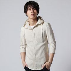SPU/ダブルガーゼ7分袖フードシャツ