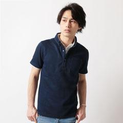 SPU/ダブルフェイスブライトテレコフェイクレイヤードポロシャツ