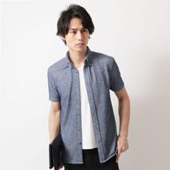 SPU/ダブルフェイスブライトテレコ半袖カットシャツ