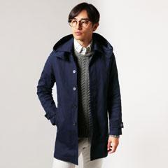 カツラギ ストレッチ フード 脱着 ステンカラー コート