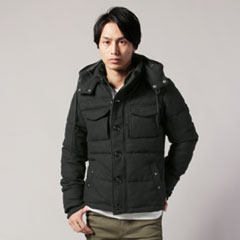 WOOL混ツイード中綿フードジャケット