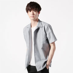 綿麻ナチュラルストレッチオックスオープンカラー半袖シャツ
