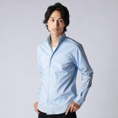 日本製シルケットブロードスキッパーデザイン長袖シャツ