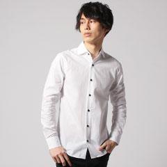 日本製ブロードホリゾンタルカラーデザイン長袖シャツ