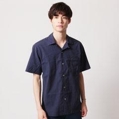 綿麻ストレッチオープンカラー半袖シャツ