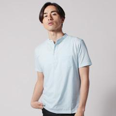 SPU別注 日本製30コーマ天竺バンドカラー半袖ポロシャツ