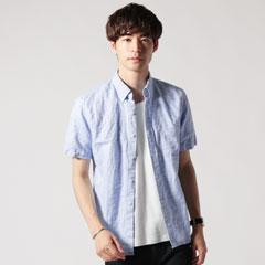 日本製フレンチリネン半袖シャツ