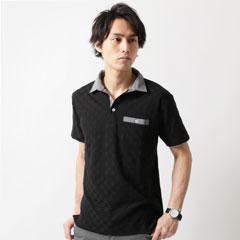 Buyer's Select/ナノテック加工格子ジャガード二枚襟半袖ポロシャツ
