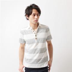 Buyer's Select/ナノテック加工スラブ杢ボーダー半袖ポロシャツ