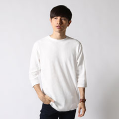 Buyer's select/裾ラウンドクルーネックワッフル7分袖カットソー