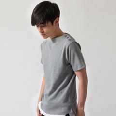 Buyer's Select/肩ボタンミラノリブ半袖ニットソー