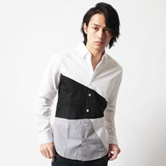 Buyer's Select/アシンメトリーフロント切り替えブロード長袖シャツ