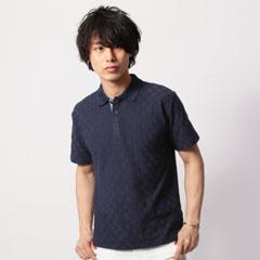 プレミアムナノテックスダミエジャガード半袖ポロシャツ