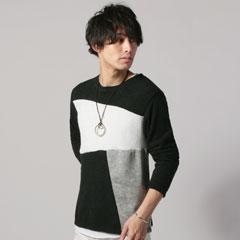 ニットソージオメ切替+裾ラウンド長袖カットソーネックレス付きアンサンブルセット