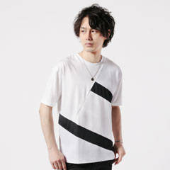 TCポンチブロック切り替え半袖Tシャツ