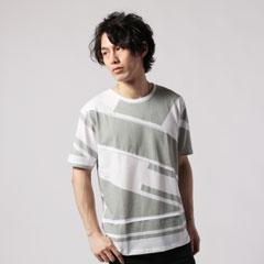 ピンタックジオメトリック切替半袖Tシャツ