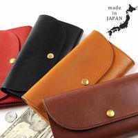 Buyer's Select/日本製栃木レザーフラップボタン長財布