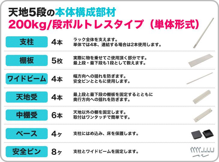 200kg/段ボルトレススチールラックの本体構成部材(単体)