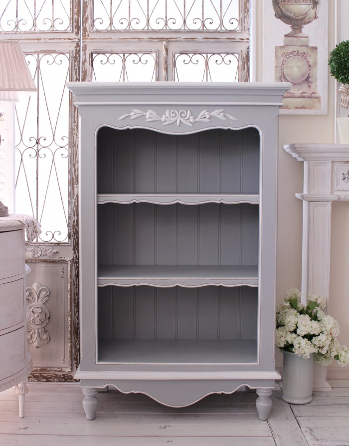 online retailer dacae aad37 Country corner ROMANCE romance collection-French grey three-shelf bookcase  display rack Bookshelf France home fixture White House fixture French k ...