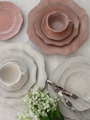 【La Ceramica V.B.C ラ・セラミカ イタリア】 ディナー皿(022) ディナープレート イタリア製 輸入食器 シャビーシック アンティーク風 洋食器 アンティーク 食器