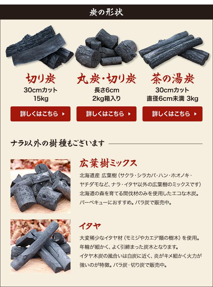 炭の形状〜切り炭(30cmカット)/丸炭・切り炭(長さ6cm、2kg)/茶の湯炭(30cmカット、直径6cm未満、3kg)-ナラ以外の樹種も〜広葉樹ミックス/イタヤ