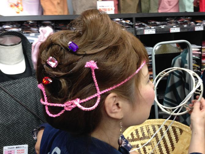 ねじり棒を使ったお祭り髪型のヘアアレンジ例