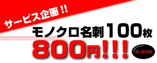 大サービス企画 限定デザインモノクロ名刺100枚752円 税・送料別